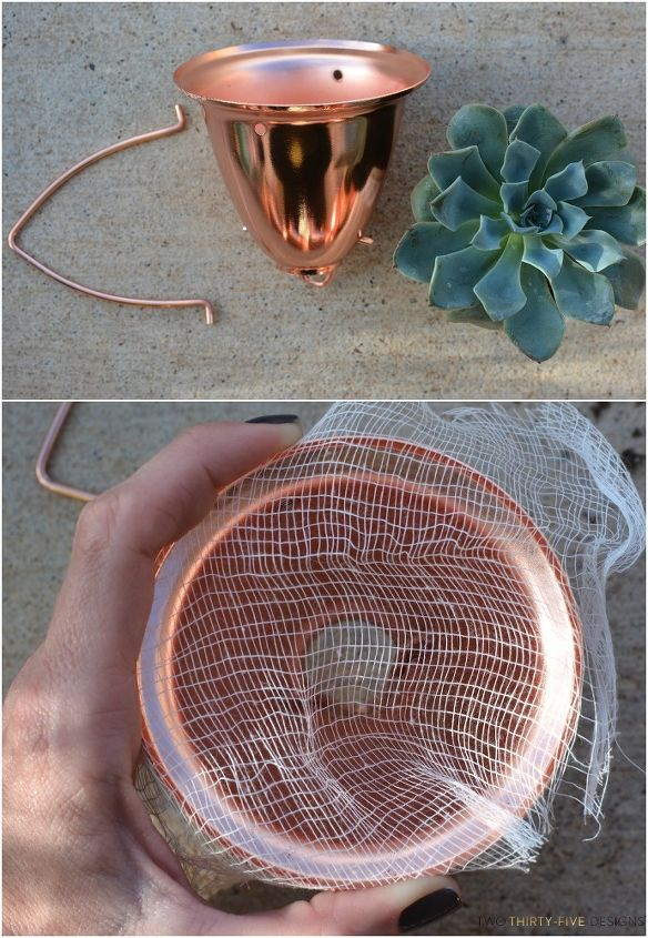 copper rain chain succulent planter, container gardening, gardening, outdoor living, repurposing upcycling, succulents