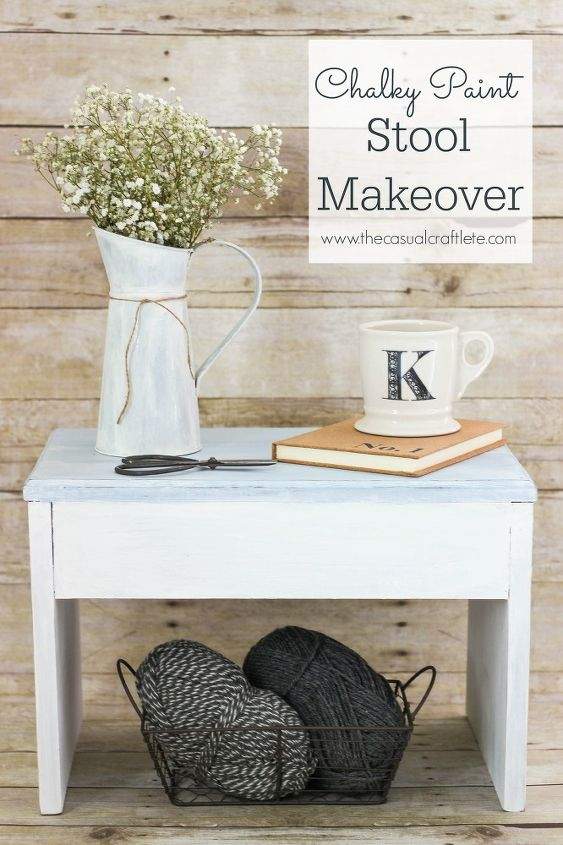 chalky paint stool makeover, chalk paint, how to, outdoor furniture, painted furniture