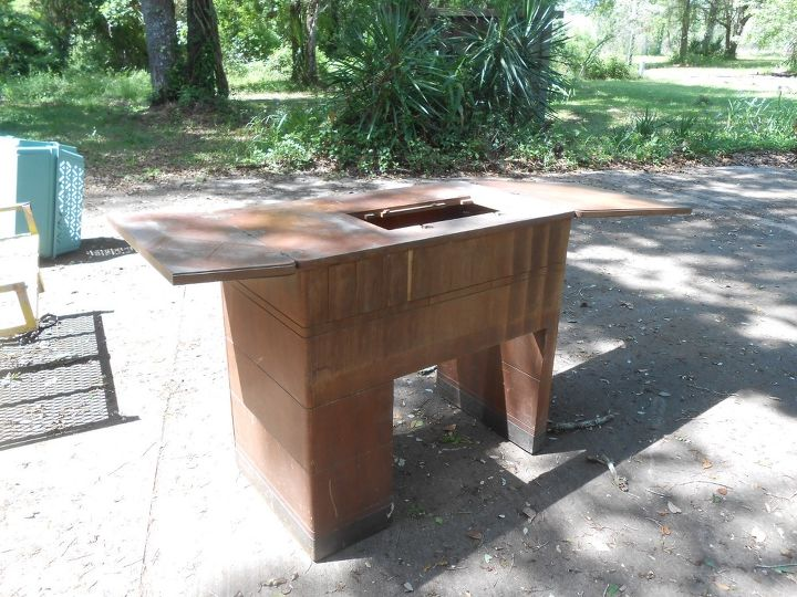 q help turning old sears sewing cabinet into kichen island, kitchen design, kitchen island, painted furniture, repurposing upcycling, Fully opened flip out on both sides