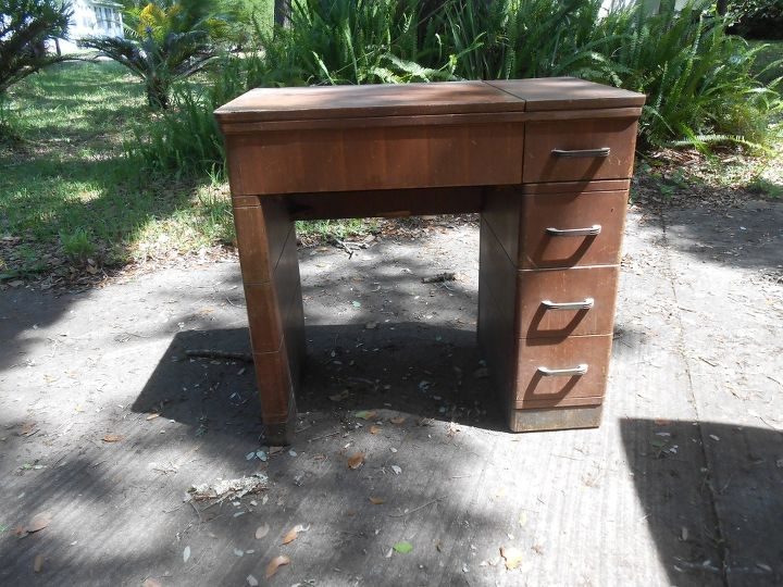 q help turning old sears sewing cabinet into kichen island, kitchen design, kitchen island, painted furniture, repurposing upcycling, Beautiful waterfall edges