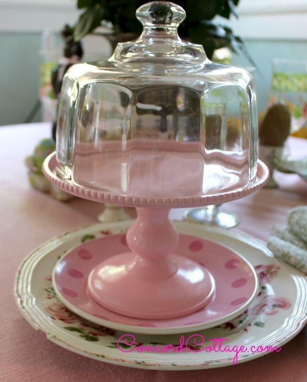pretty pink cake plate, crafts, how to, shabby chic