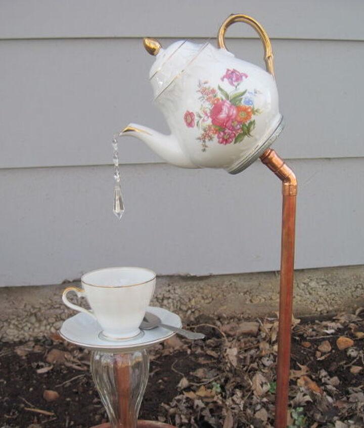 english tea pot tea cup and saucer garden stakes, gardening, outdoor living, repurposing upcycling