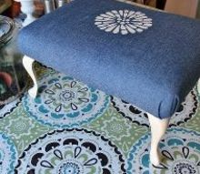 a creative idea for reupholstering an old stool, painted furniture, reupholster