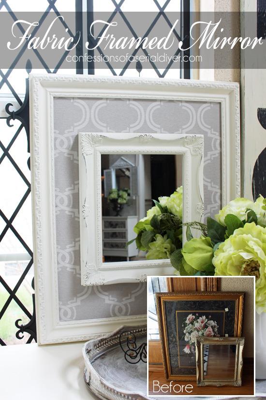 fabric framed mirror, crafts, repurposing upcycling, wall decor