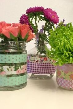 washi tape flower vases, crafts, flowers, gardening, home decor, mason jars, repurposing upcycling