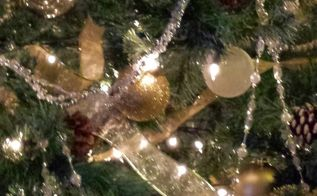 my silver and gold themed christmas tree, seasonal holiday decor, Close up photo shows details of the ribbon garland and ornaments