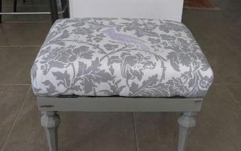 Ugly Grey Vinyl Foot Stool Gets a Pretty Makeover
