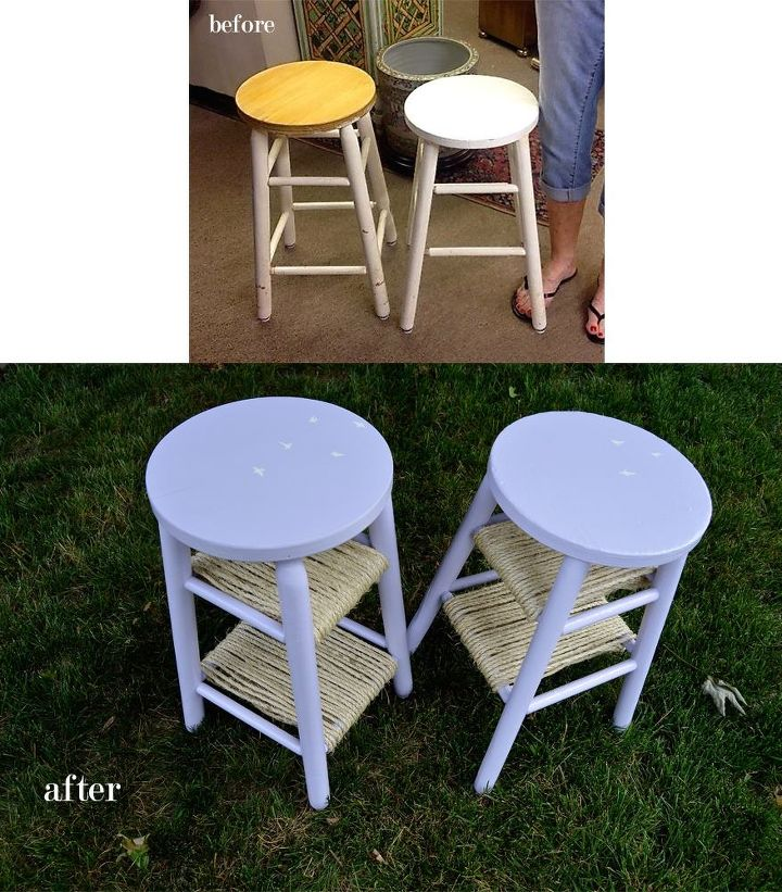 lavender stool side tables, painted furniture, repurposing upcycling, rustic furniture