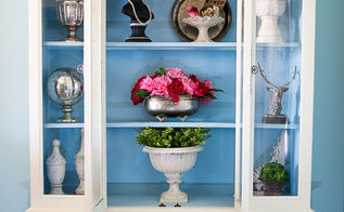 ivory and blue plaster painted china hutch, painted furniture