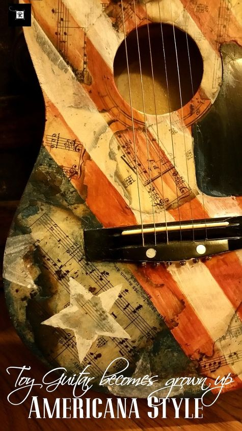 upcycled guitar americana style, bedroom ideas, crafts, decoupage, how to, repurposing upcycling