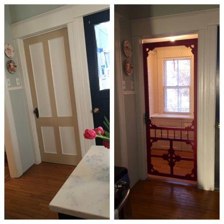 vintage screen door given new life, closet, doors, how to, repurposing  upcycling - From Vintage Screen To Pantry Door Hometalk