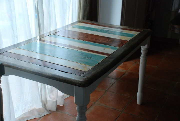 striped french farmhouse table, how to, painted furniture, repurposing upcycling, woodworking projects