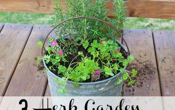 container herb garden, container gardening, gardening, homesteading
