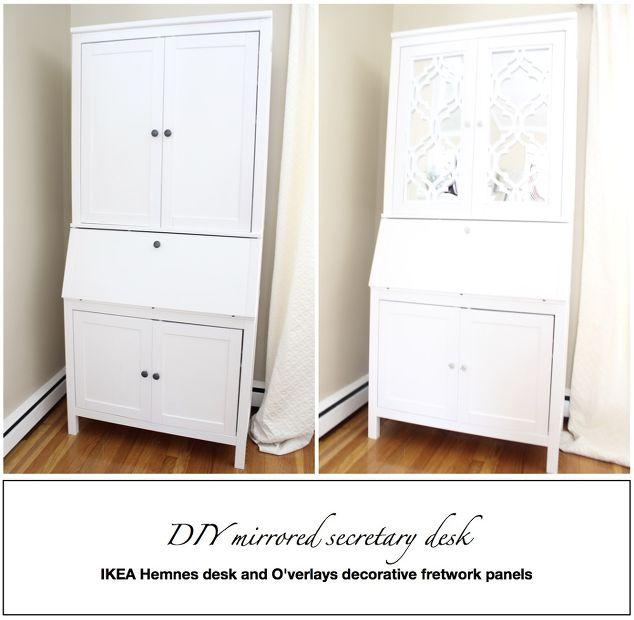 diy mirrored secretary desk hometalk. Black Bedroom Furniture Sets. Home Design Ideas