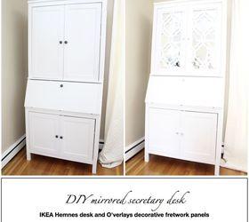 Diy Mirrored Secretary Desk, Painted Furniture