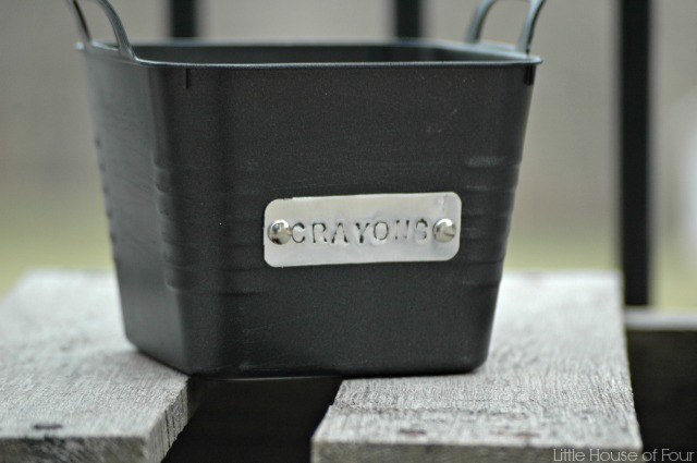 dollar store storage bins with custom metal tags, crafts, how to, organizing, repurposing upcycling, storage ideas