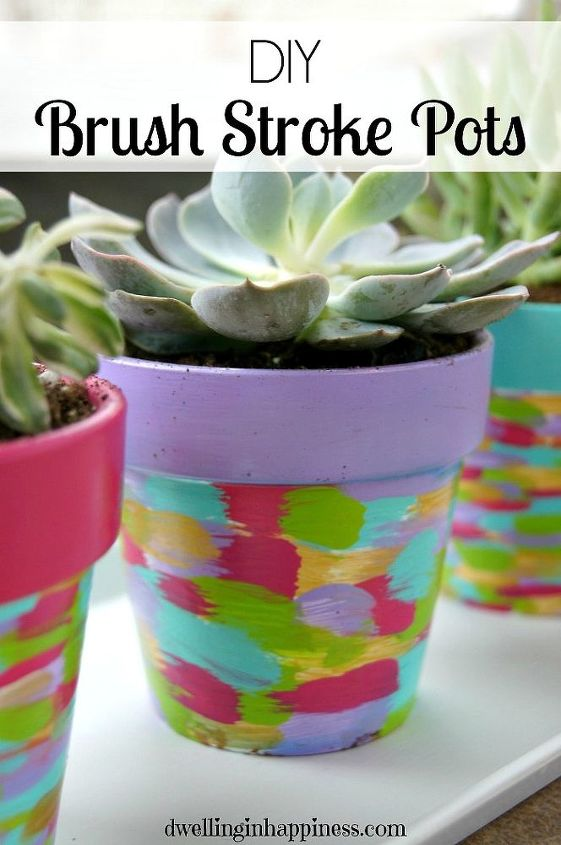 diy brush stroke pots, container gardening, crafts, flowers, gardening, how to