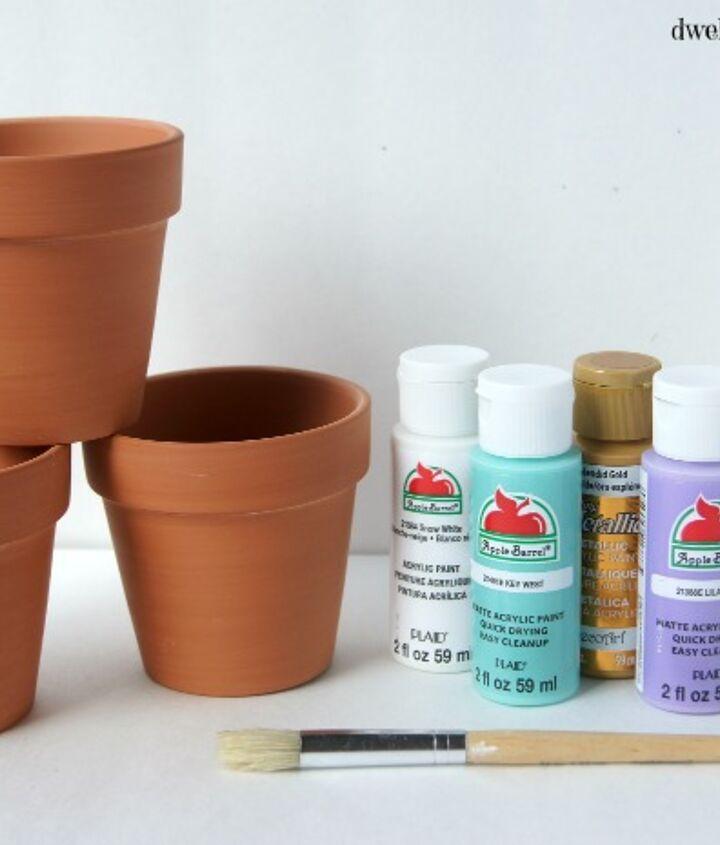 diy brush stroke pots, container gardening, crafts, flowers, gardening, how to