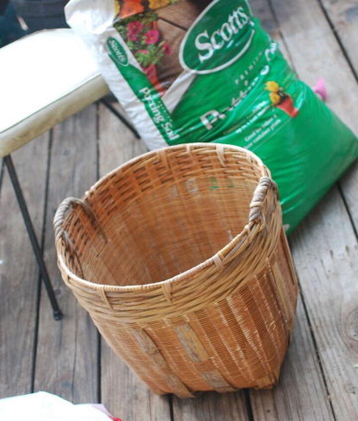 salvaged wicker basket turned planter, container gardening, flowers, gardening, repurposing upcycling