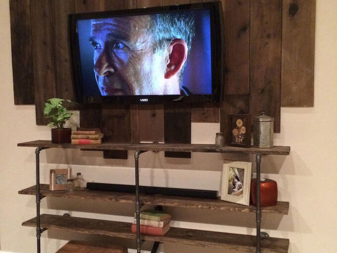 diy iron pipe wood shelf, diy, how to, living room ideas, repurposing upcycling, shelving ideas, wall decor