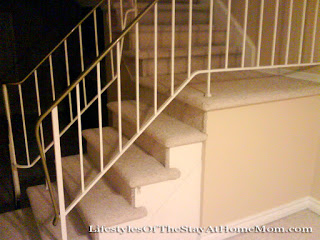 q old style 1970 stair railing, painting, stairs