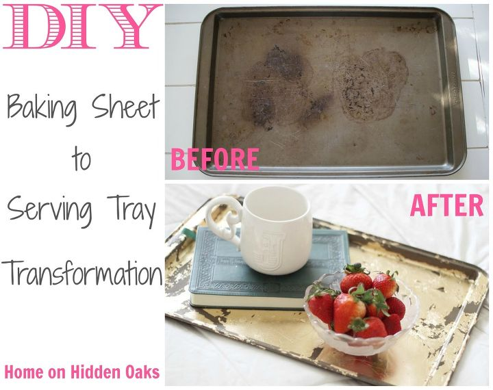 baking sheet into serving tray a free transformation, crafts, how to, repurposing upcycling