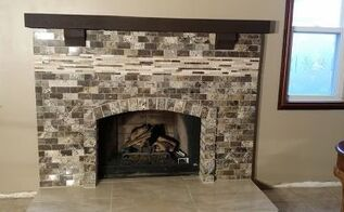 1970 s brick fireplace diy makeover, concrete masonry, fireplaces mantels, how to, tiling