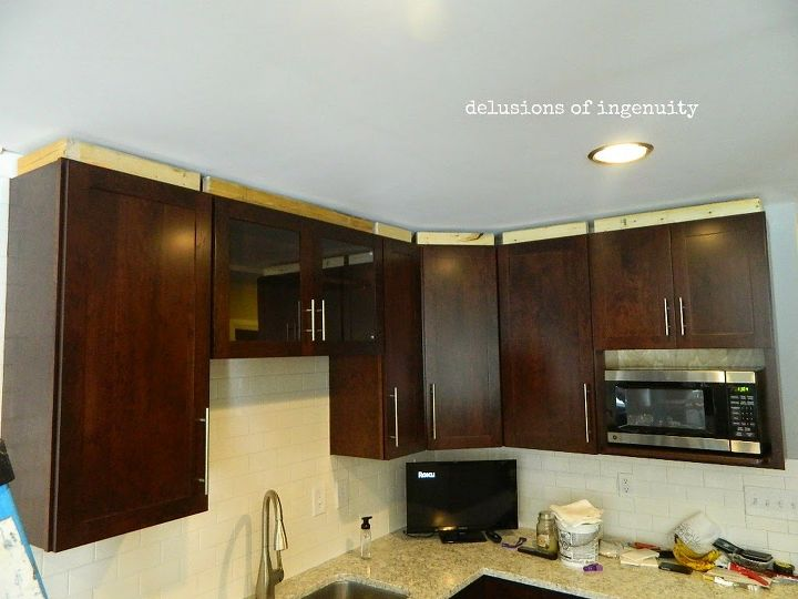 Kitchen Crown Molding And Floating Shelves
