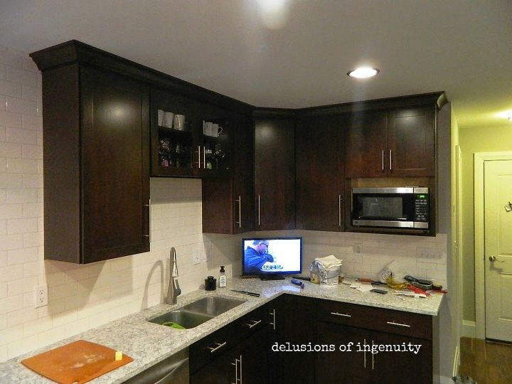 Kitchen Crown Molding And Floating Shelves | Hometalk