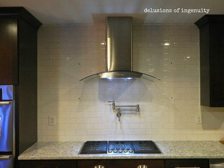 onward kitchen soldiers crown moulding and floating shelves, kitchen cabinets, kitchen design, shelving ideas, wall decor, woodworking projects