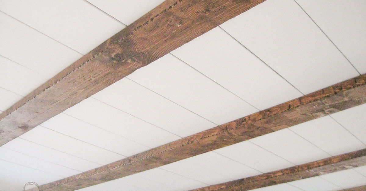 Diy faux farmhouse barn beam ceiling hometalk for How to build a box beam
