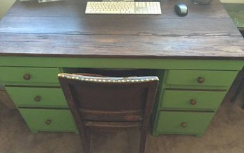 very old desk facelift, painted furniture