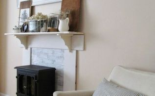 diy faux fireplace mantel, fireplaces mantels, living room ideas, repurposing upcycling, shelving ideas
