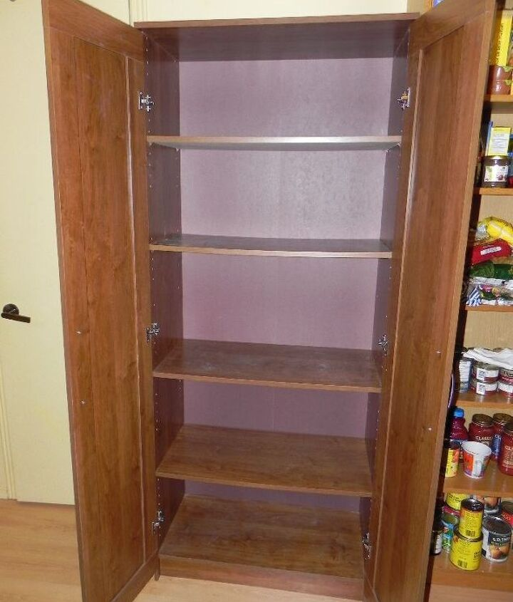 new pantry with wallpaper from walls republic, closet, painted furniture, storage ideas