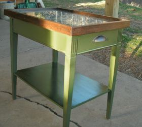 Tin Table, Painted Furniture, Repurposing Upcycling