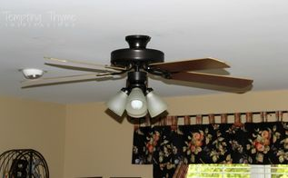 giving an outdated ceiling fan a little face lift, lighting, painting