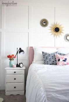 guest room makeover, bedroom ideas, lighting, painted furniture, reupholster, wall decor