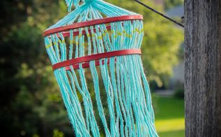 yarn chandelier craft, crafts, how to, outdoor living, repurposing upcycling