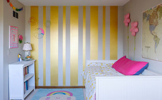 gold striped feature wall, bedroom ideas, how to, painting, wall decor