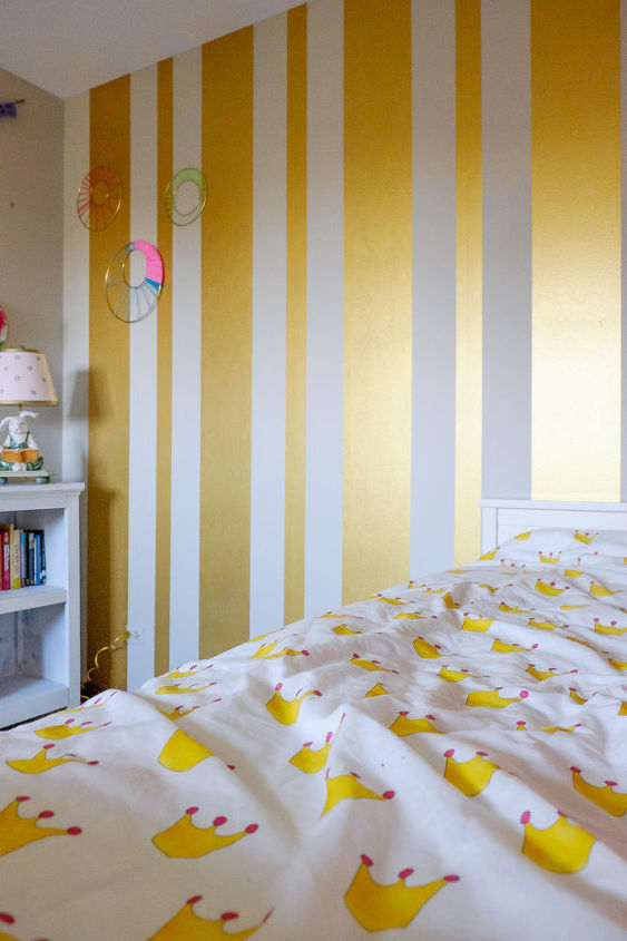 Gold Striped Feature Wall In Girl\'s Bedroom | Hometalk