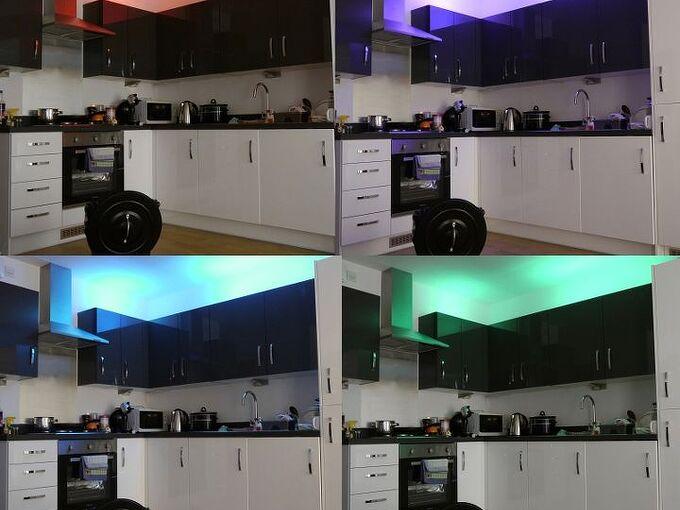 led lights bare walls neons, kitchen design, lighting, tiling