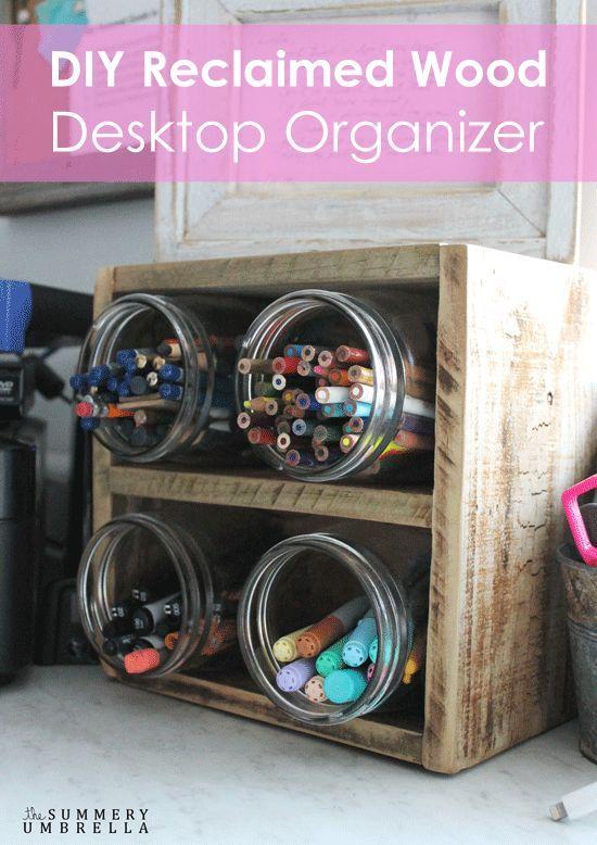 diy reclaimed wood desktop organizer, how to, mason jars, organizing, repurposing upcycling, woodworking projects