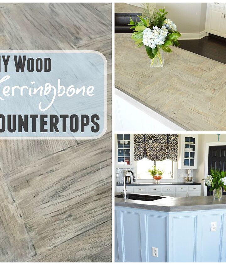 diy wood herringbone counters, countertops, diy, how to, kitchen design, kitchen island, painting, woodworking projects