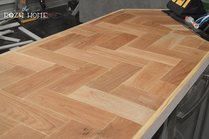 mixed kitchen countertops with Diy Wood Herringbone Counters on Microsoft And Lowes Are Bringing Hololens To Home Improvement Stores as well White Granite Countertops together with Black Glass Aluminum Metal Mixed Modern Backsplash Tile further Antique White Kitchen Cabi s moreover Paving Stone Ideas.