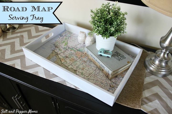 road map serving tray, crafts, decoupage, how to, repurposing upcycling
