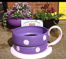 Charmant Q Teacup Planters Made From Old Tires, Container Gardening, Gardening,  Painting, Repurposing