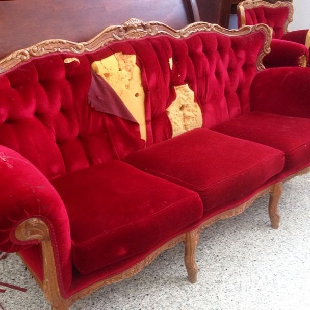 French Provincial Couch Miss Mustard Seed S Milk Paint Painted Furniture Repurposing Upcycling
