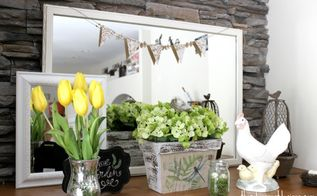 spring decor ideas, flowers, home decor, repurposing upcycling, rustic furniture, Mantle