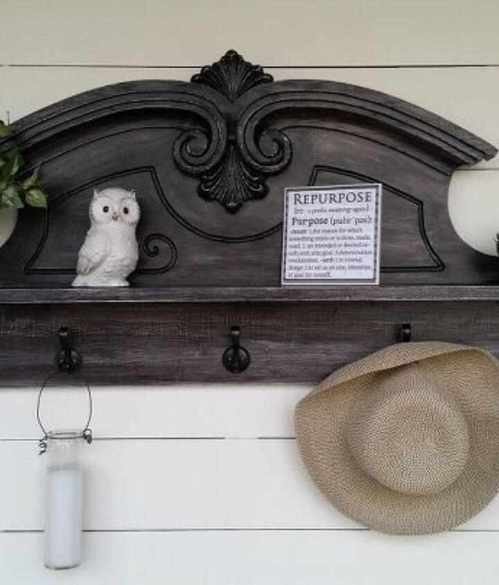 repurposed pediment into coat rack shelf, foyer, organizing, repurposing upcycling, shelving ideas