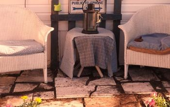 a little moms patio made from leftover stone tiles items on hand, outdoor living, patio, repurposing upcycling